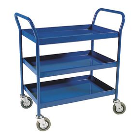 Three tier trolley with fixed shelves