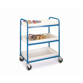 Tray trolley with 3 shelves