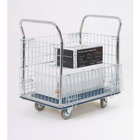 Steel platform truck with chrome plated mesh panels, capacity 300kg