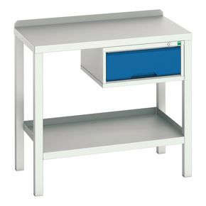 STATIC WELDED BENCH WITH DRAWER STEEL TOP