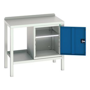 STATIC WELDED BENCH WITH CUPBOARD STEEL TOP