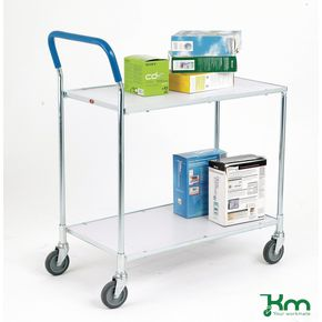 Zinc plated shelf trolley with two shelves