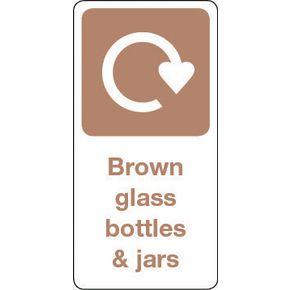 SIGN BROWN GLASS BOTTLES & JARS VINYL ROLL OF 20 - H X W: 100 X 50