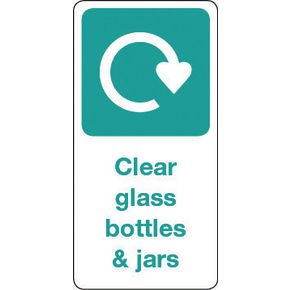 SIGN CLEAR GLASS BOTTLES & JARS VINYL ROLL OF 100 - H X W: 50 X 25