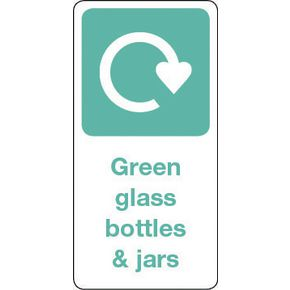SIGN GREEN GLASS BOTTLES & JARS VINYL ROLL OF 1000 - H X W: 50 X 25