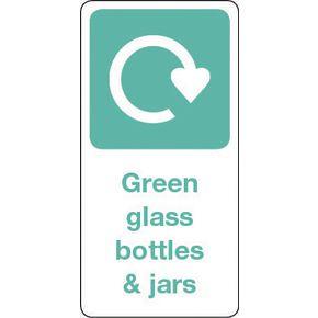 SIGN GREEN GLASS BOTTLES & JARS VINYL ROLL OF 20 - H X W: 100 X 50