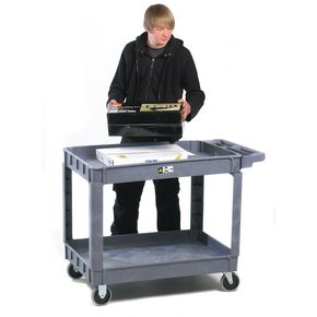 Plastic two tray service trolley, capacity 225kg