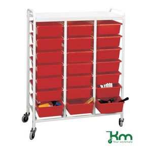 Tray and bin trolley white lid/tray