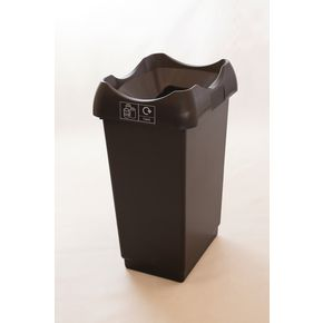 50 LITRE RECYCLING BIN WITH GREY BODY, BLACK LID AND GRAPHIC