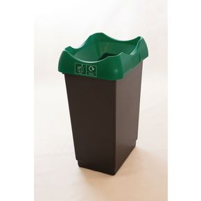 50 LITRE RECYCLING BIN WITH GREY BODY, GREEN LID AND GRAPHIC