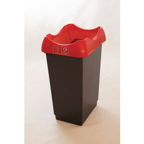 50 LITRE RECYCLING BIN WITH GREY BODY, RED LID AND GRAPHIC