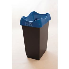 50 LITRE RECYCLING BIN WITH GREY BODY, BLUE LID AND GRAPHIC