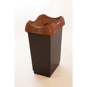 50 LITRE RECYCLING BIN WITH GREY BODY, BROWN LID AND GRAPHIC
