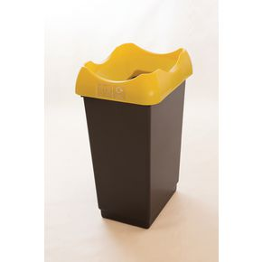 50 LITRE RECYCLING BIN WITH GREY BODY, YELLOW LID AND GRAPHIC
