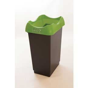 50 LITRE REYCLING BIN WITH GREY BODY, LIME LID AND GRAPHIC