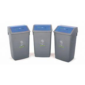 Recycling bin kit with blue lids