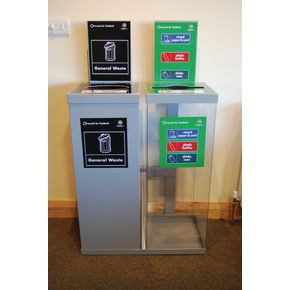 TWO 80l MIXED METAL / TRANSPARENT WITH GREY LID INTERNAL RECYCLING BIN