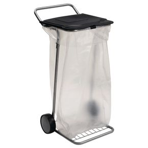 Mobile sack holder with lid
