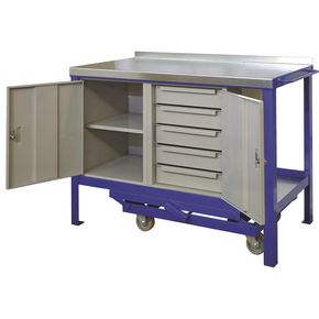 HEAVY DUTY MOBILE WORKBENCH 1500 x 750 WITH CUPBOARD AND 5 DRAWER UNIT