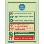 Sign-Fire Action Instructions Photo Lum 200X150Mm Rigid