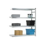 Zinc plated longspan shelving - - Add on bays with one upright frame and 4 shelves