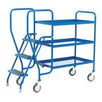 Order picking tray trolleys with 3 steel shelves