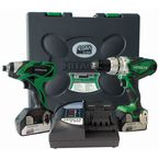 2 Piece Hitachi 18V cordless kit with 4.0Ah lI-Ion batteries