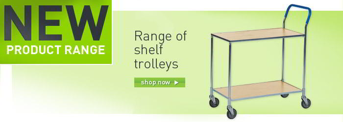Two Tier trolleys with laminate shelves