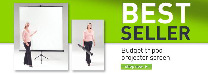 Budget tripod projector screen banner