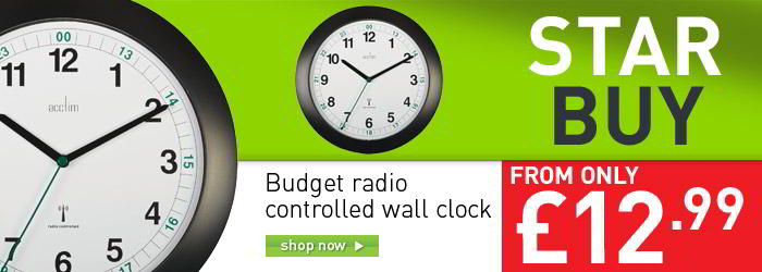 Budget radio controlled wall clock banner