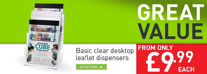 Basic clear desktop leaflet dispeners banner