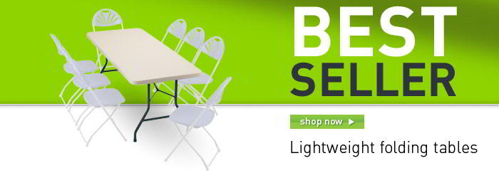Lightweight folding tables banner