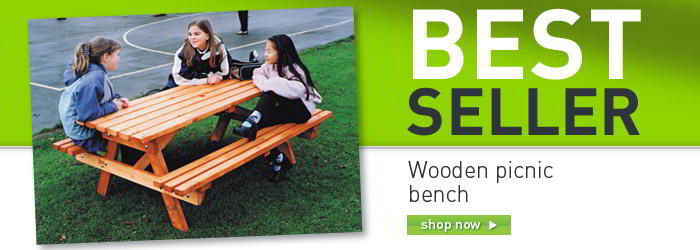Wooden picnic bench banner