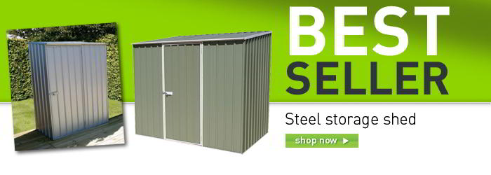 Steel storage shed banner