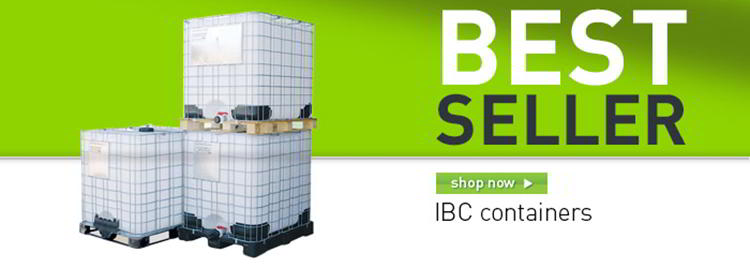 IBC Containers with plastic pallet banner
