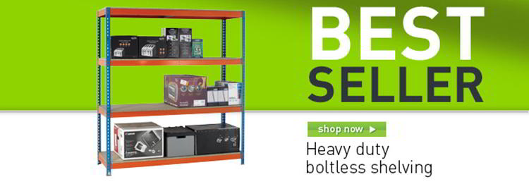 Heavy duty boltless shelving banner