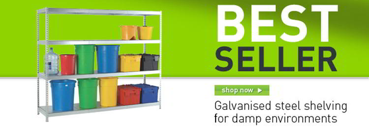 Heavy duty galvanised shelving banner