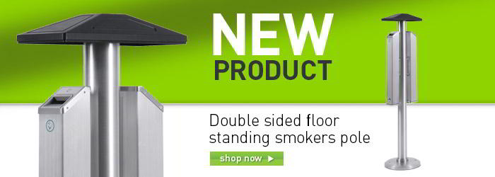 Double sided floor standing smokers pole banner