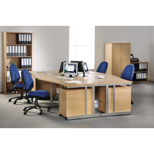 1400 Long Right Hand Wave Desk Silver Frame Office