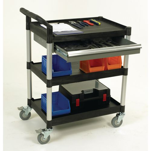 3 Shelves Utility Tool Trolley W One Drawer Open Sided