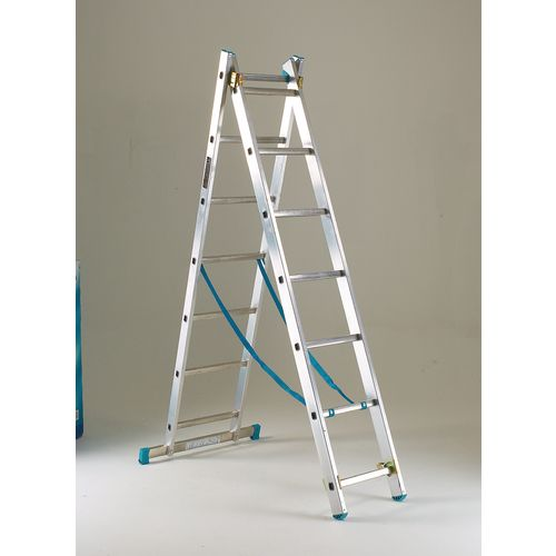 Heavy duty two section transformable aluminium ladders
