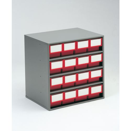 Cabinet Coloured Bin With 16 Type A Red Bins Tray Drawer Systems Small Parts Storage