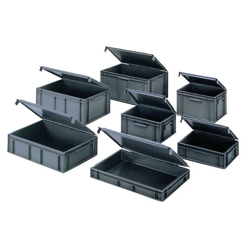 European stacking boxes with lids Choice of base size and height