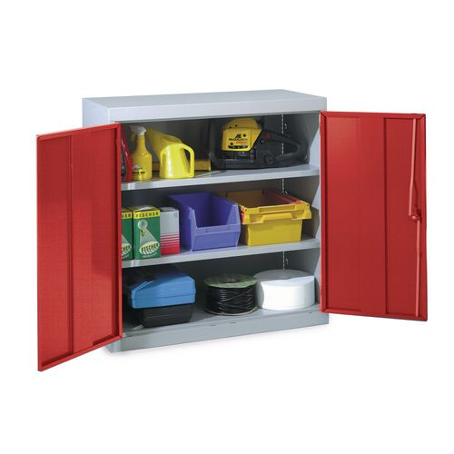 Tool cupboards, double red doors and 2 shelves