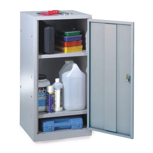 Tool cupboards, single dark grey door, body and 2 shelves