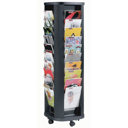 Storage Boxes MOBILE CAROUSEL 40 POCKET 4 SIDED ON CASTORS - BLACK