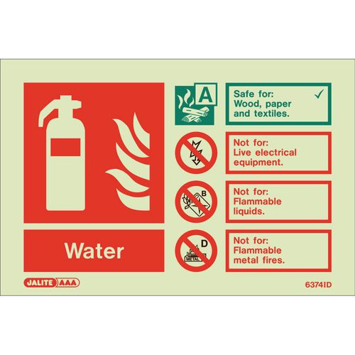 Photoluminescent Fire extinguisher identification signs - Water