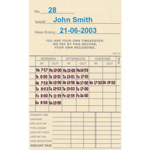 Attendance Machines TIME RECORDER CLOCK CARDS SUITS TP200, PACK OF 1000