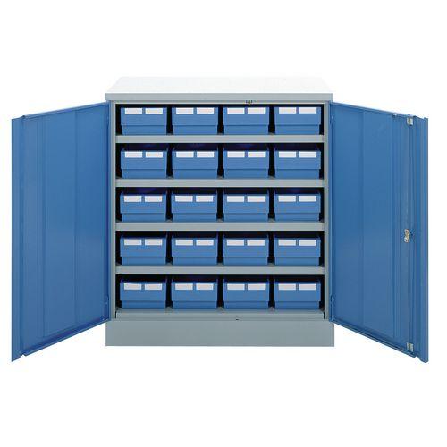 Half-height storage bin cupboards - 4 shelves, 20 bins