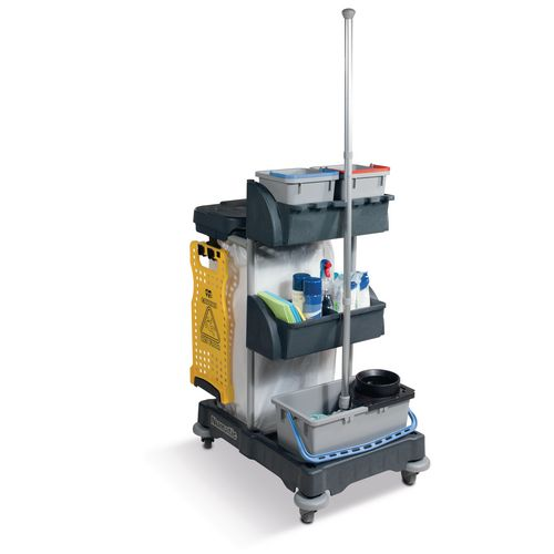 Cleaning mopping trolley with mop